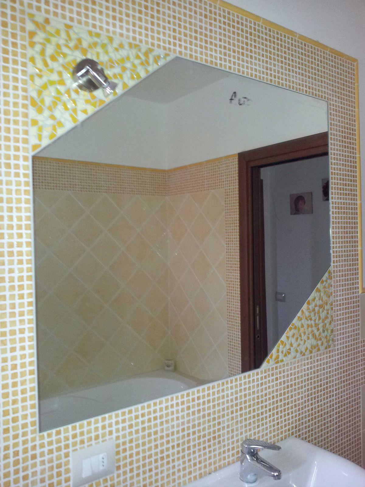 Specchio Incassato Con Angoli In Vetrofusion Metal Vetro